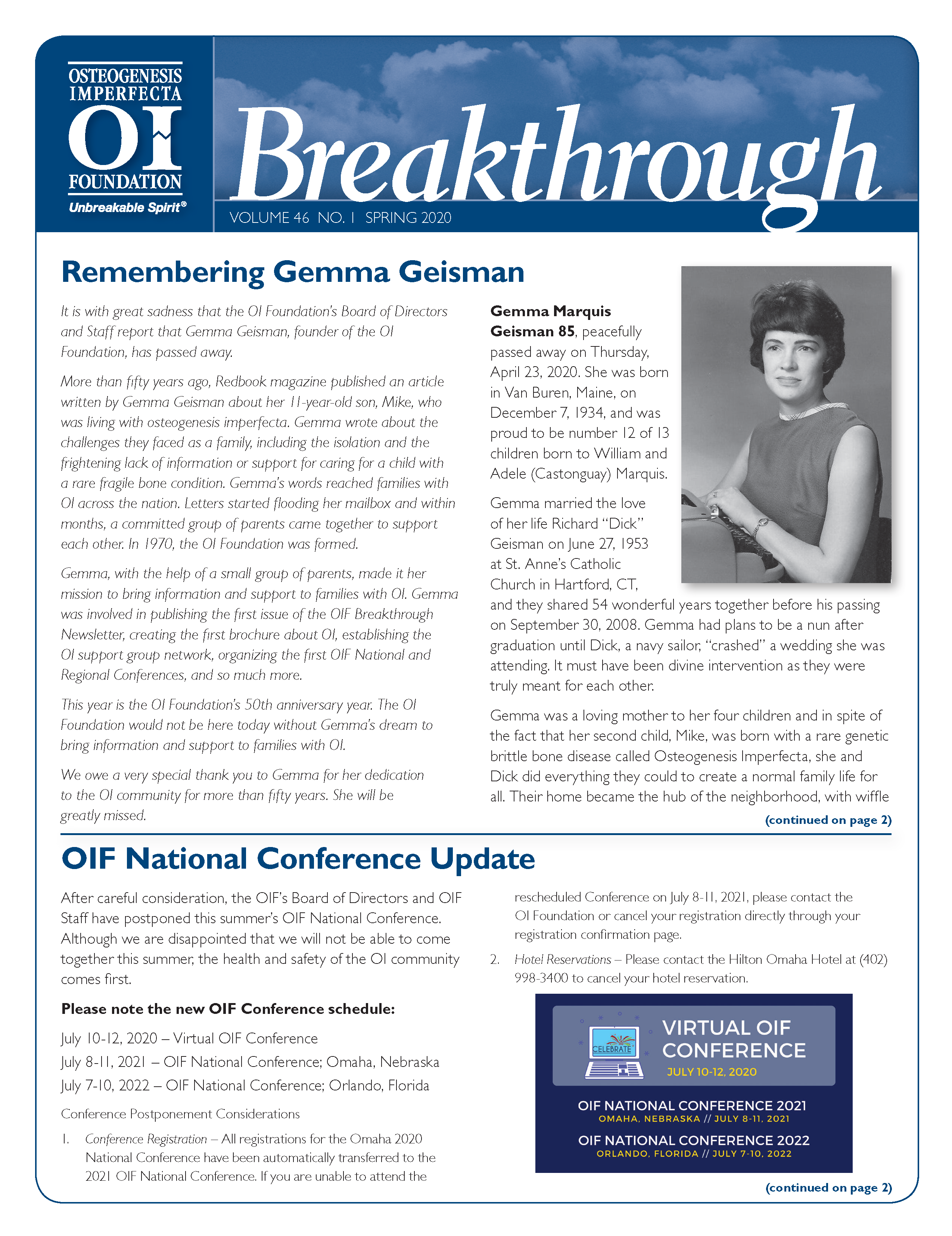 Breakthrough Newsletter: Spring 2020