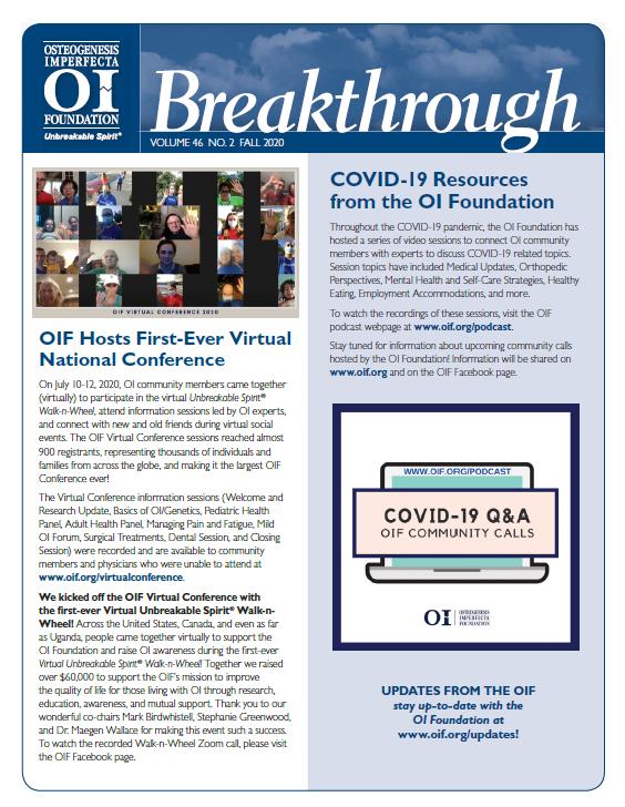 Breakthrough Newsletter: Fall 2020