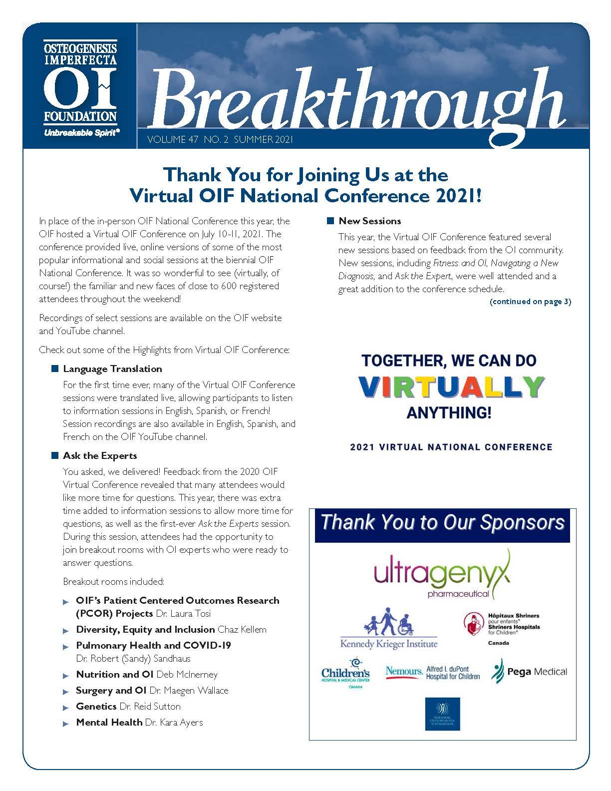 OIF Breakthrough Newsletter: Summer 2021